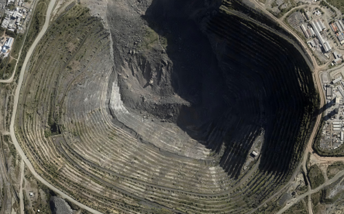 aerial image of a mine in South Africa