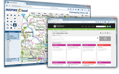 Screen shot of Getmapping Inspire Cloud Publisher