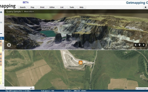 Image of screen shot of the Getmapping Online GIS platform