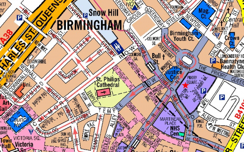 image of Birmingham in A-Z Mapping's large scale mapping product