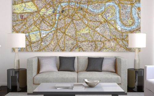 image of an A-Z map printed as wall art and placed in a room