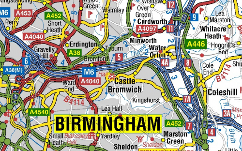 image of Birmingham roads on A-Z roads mapping