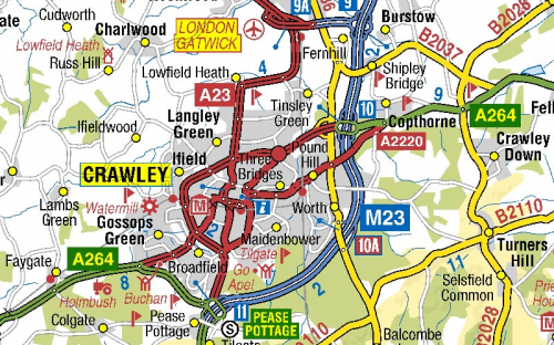 image of Gatwick roads on A-Z roads mapping