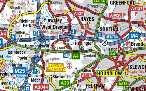 image of Heathrow roads on A-Z roads mapping