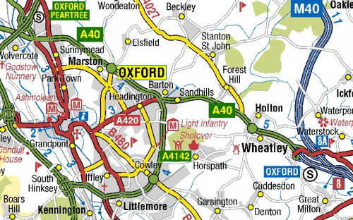 image of Oxford roads on A-Z roads mapping