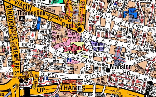 image of London in A-Z Mapping's street mapping