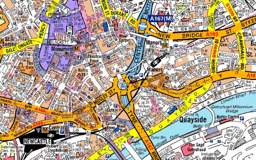 image of Newcastle in A-Z Mapping's street map