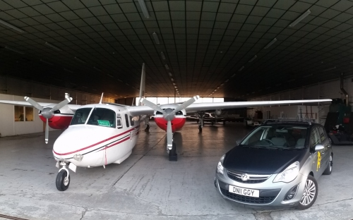 Getmapping aerial survey aircraft and Street Layer survey car