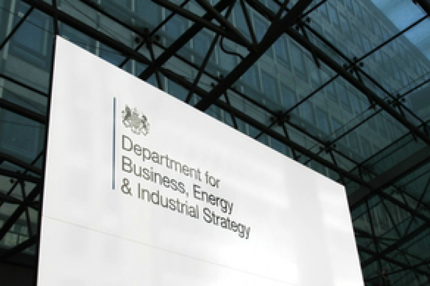 Image of department of BEIS nameboard