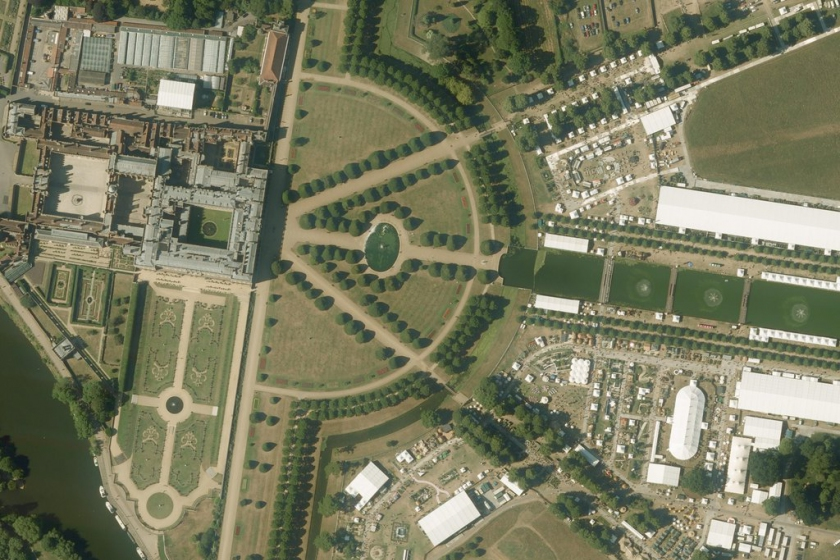 Aerial Image of Hampton Court Palace and the RHS Flower Show