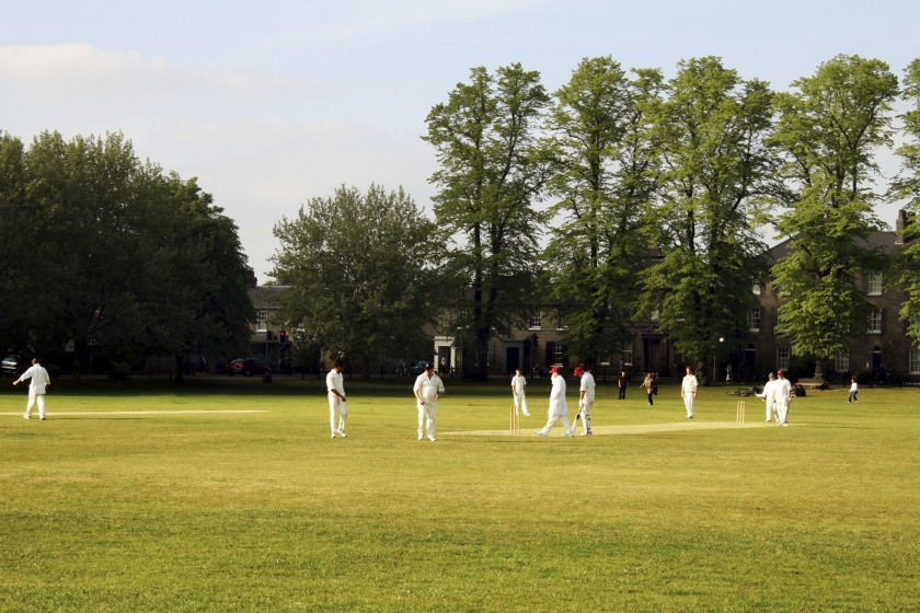 Image of a cricket team on a village green