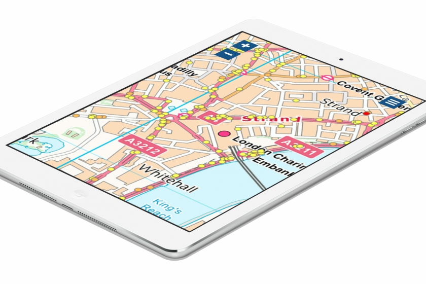 Image of Getmapping's Public Map being viewed on an ipad