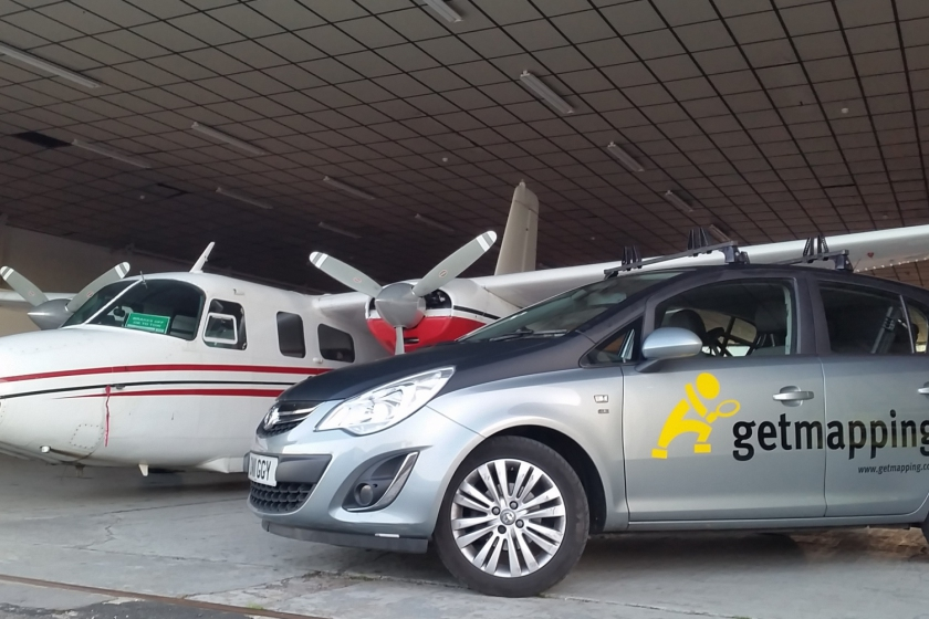 Image of Getmapping survey aircraft and car