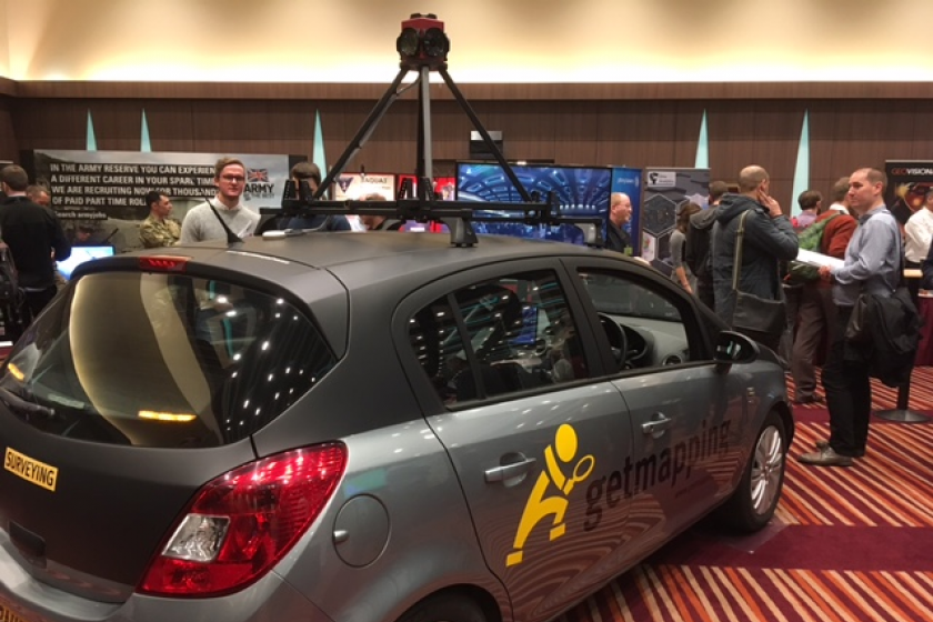 Image of Getmapping's Street Layer survey car on display at Geodata London 2016